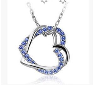 Jewelry - Blue Austria Crystal Intertwined Heart Necklace